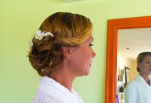 Hair and makeup services for vow renewal in St. Thomsa