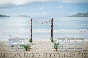 Wedding arch for vow renewal at Magens Bay