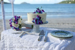 celebration cake for vow renewal on beach in St. Thomas