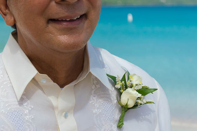 White boutonniere for wedding or vow renewal in st thomas