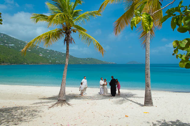 The perfect spot between two palms for a beach vow renewal in st. thomas