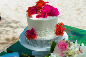 Celebration cake for vow renewal reception in St. Thomas